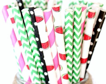 Watermelon party straws mix- Watermelon party straws, summer picnic themed party, watermelon party, summer wedding straws