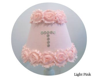 Shabby Pink Chiffon Rosettes & Fabric Lamp Shades - with or without Monogram