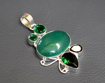 Green Onyx Cabachon & Multi stones Pendant - 925 Sterling Silver Pendant - Jewellery gift for her