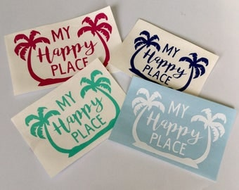 Palm Tree Decal - Beach Car Decal - Beach Decal - Happy Place - Happy Place Decal