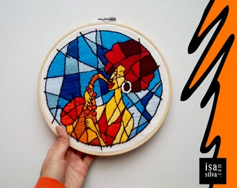 Embroidery Hoop Art-Jazzy-Embroidery with frame-Music-Jazz