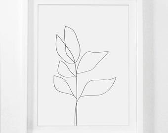 Botanical Drawing, Simple Drawing, Simple Flower Print, Botanical Framed Art, Minimalist Drawing, Plant Drawing, Framed Simple Art, Artwork