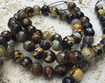 Black lemon Fire Agate Faceted Beads