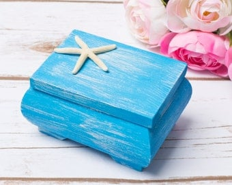Beach Wedding RIng Box Nautical Ring Holder Pillow Wooden Box Anchor wedding Box