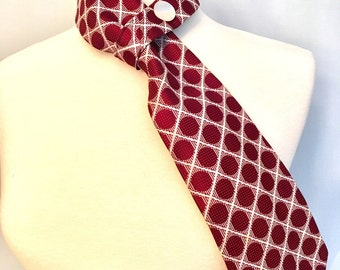 Necktie Scarf upcycled Vintage Burgundy and White  print polyester men's Repurposed tie scarf