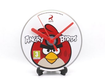 Angry Birds PC Upcycled CD Disc Clock Video Game Gift Idea