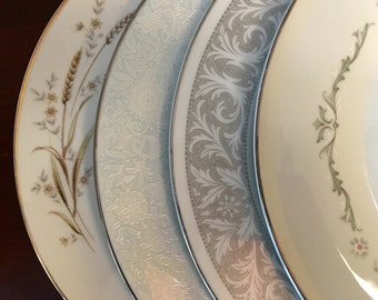 Mismatched China Dinner Plates - Set of 4 - Collection #110 / Vintage Dinnerware / Dish Set
