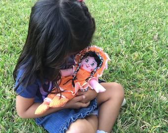 Rag doll, nicaraguan rag doll, handmade doll Orange