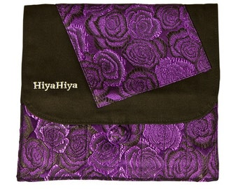 HiyaHiya Interchangeable Needle Case, Blue or Purple Rose Brocade, 13 Needle Pockets, 2 Zipper Pockets, HiyaHiya Accessories