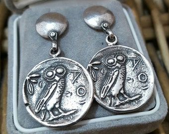 Vintage 925 solid silver earrings, egyptian design,owl & egyptian queen,stunning