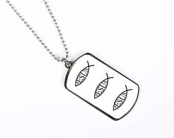 Jesus Fish Ichthys Christ Son of God Savior Christian Faith, Dog Tag Necklace, Dog Tags Personalized, Gift Idea, Silver Chain, DN035