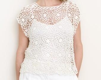 Crochet Top Pattern - Crochet Cover Up Pattern - Plus Sizes - Square Motif Seamless Drop Shoulder PDF Pattern - Serenity Crochet Lace Top