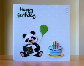 Birthday Card, Handmade - Cute Panda Holding A Balloon & Birthday Gift With Birthday Cake - Cute Panda Card - Can Be Personalised