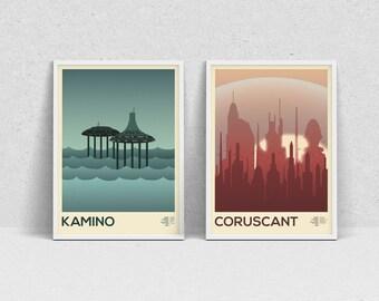 STAR WARS PLANETS - A3 print set - movie posters, wall art, modern print, minimalist