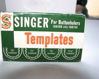Vintage Singer buttonholer templates original pack of four