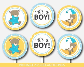 Teddy bear cupcake toppers , Bear cupcake toppers, Printable cupcake decorations for baby shower, Teddy cupcake topper, BB4-11