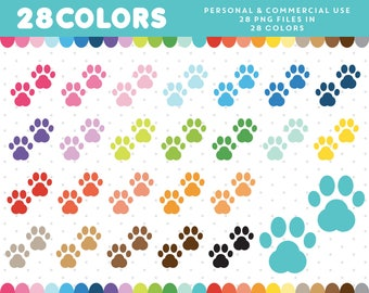 Paw Print clipart, Dog Paw clip art, Dog Paw icon, Paws graphics, Pet Paw Icon, Planner Clipart Supplies, CL-331