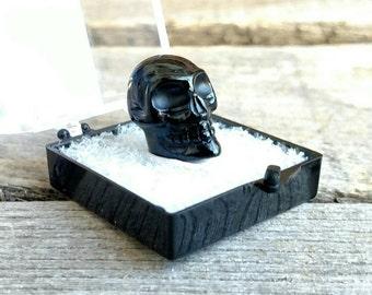 Genuine Tektite Skull| 4.61 grams | Unique Space Skull | Meteorite Skull | Hand Carved One of a Kind