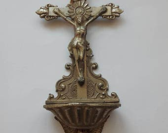 Antique crucifix holy water