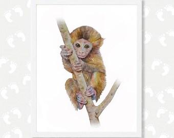 Monkey Print Monkey Art Monkey Watercolor Painting Safari Animal Nursery Art Instant Download Baby Monkey Printable Baby Animal Print Zoo