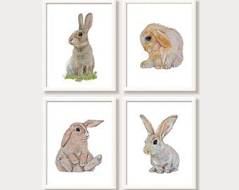 Easter Bunny Printable Rabbits Digital Download Prints Instant Download Art for Kids Bunny Nursery Decor Set 4 Baby Animal Prints Bunny gift