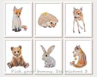 Baby Animal Watercolor Prints Woodland Nursery Wall Art Forest Animals Woodland Nursery Paintings Set Bunny Fox Bear Fawn Hedgehog Squirrel