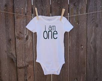 first birthday i am one handmade baby onesie gender neutral