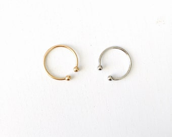 Simple small double ball ring, simple barbell midiring