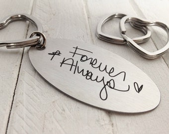 Handwritten Key Chain, Your Handwriting keychain - or font, personalized key chain, keychain for him or her, heart key ring, Valentine gifts