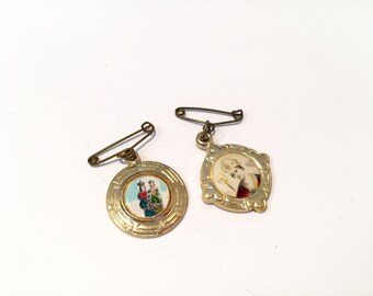 Two Vintage Religious Pin Brooches In Gold Tone Frame