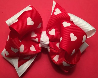 Valentine's Day Hair Bow Valentine's Hair Bow Red and White Heart Bow Girl's Boutique Valentine's Bow 5-Inch Valentine's Day Bow