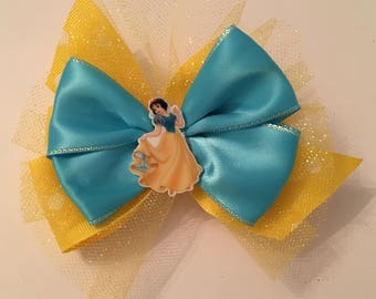 Snow White Bow Sparkly Disney Princess Bow Disney Bows  Snow White Bow with Glitter Tulle and Yellow Polka Dots Snow White Bow with Glitter