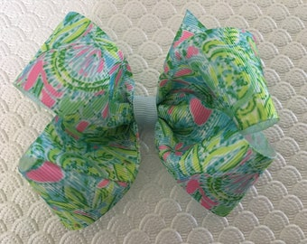 Lilly Inspired Hair Bow Lime Green and Blue Lilly Bow Summer Bow Light Blue and Lime Green Bow Pink and Green Lilly Bow