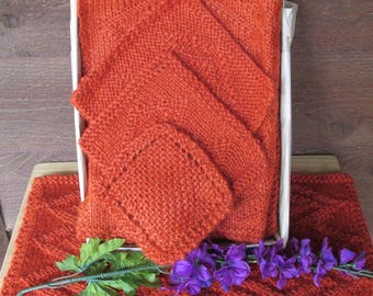 Burnt Orange Knit Table Setting, Rust Placemats and Trivets, Vintage Placemats, Housewarming, Mother's Day Gift