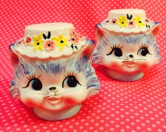 Bingville Anthropomorphic Miss Priss Kitten Cats Salt and Pepper Shakers made in Japan circa 1950s