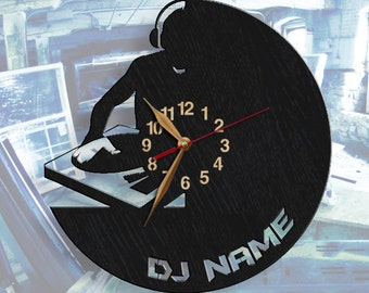 Personalized DJ Wall Clock, DJ, Wooden clock, Wall Art Decor, Wood Clock, Modern, Home decor, Gift Idea