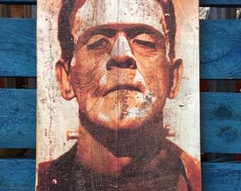 Frankensteins Monster and Bride Inspired Handmade recycled Wood Art Horror