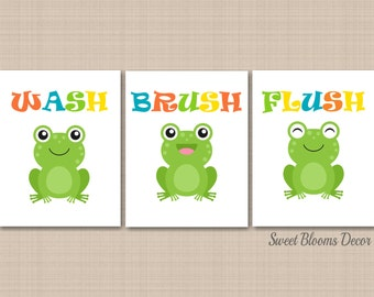 Frog Bathroom Wall Art Kids Boy Girl Bath Decor Childrens Baby Bathroom  Duck Froggy Sister Brother