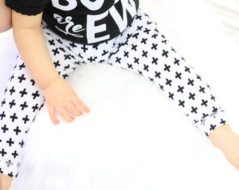 20% OFF SALE - Black and White Plus Sign Baby Leggings and Hat | Gender Neutral Baby Pants