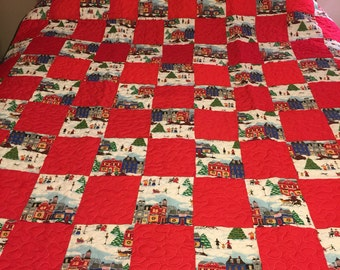 Vintage Folk Art Style Quilt top Newly Quilted
