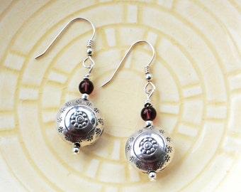 Silver Bead Earrings with Mini Amethyst Glass Bead Thai Hilltribe Silver Dangle Drop Earrings