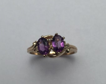 Style#217-14Kt Yellow Gold with two oval Genuine Amethyst