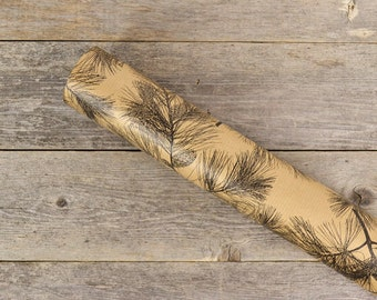"Pinecones & Branches Wrapping Paper / Brown Kraft Gift Wrap / Simple Woodsy Wrapping Paper - 24"" x 30"" - 2 rolled sheets"