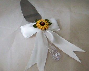 Wedding  Reception Party Sunflower Cake Knife Server Bow and Ribbons