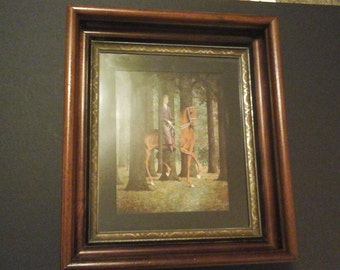 Victorian Picture Frame, Walnut Deep Wood Frame with Glass and Orignal Backing, inc. Magritte Print