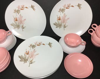 Pink Melmac Dishes Set, Beverly Prolon, 60s Quality Melmac Dinnerware