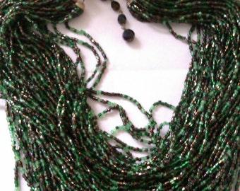 vintage multi strand micro bead necklace