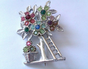 1950's silver coloured tree brooch