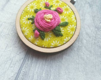Mothers Day gift, unique gift for her, handmade necklace, embroidered pendant, mini embroidered hoop, Easter Gift, Spring Jewellery