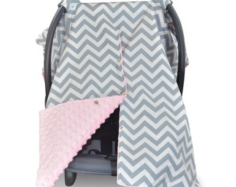 Carseat Canopy | Nursing Cover | Car Seat Canopy w/ Peekaboo Opening™- Chevron Pattern w/ Pink Dot Minky for Baby Girl | Breastfeeding Cover